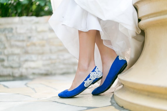 Wedding Shoes Cobalt Blue Bridal Ballet Flats Wedding