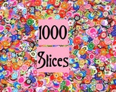 1000 Nail Art Fimo Cane Slices, Kawaii Foods, Scrapbooking with Plastic Storage Container, Decoden Supply