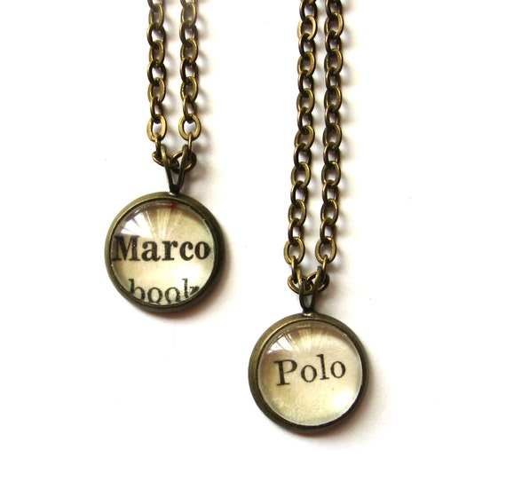marco polo matching best friend necklaces vintage library card