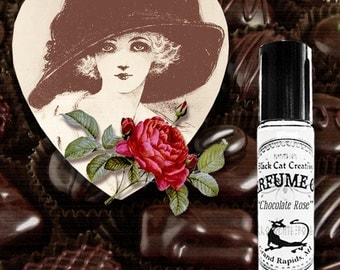 CHOCOLATE ROSE - Decadent Chocolate and Rose - Sinfully Sweet Perfume Oil by Black Cat Creatives