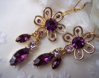 VINTAGE Rhinestone Earrings Assemblage Dangle Drop Purple Eggplant Lavender Gold Bride Bridesmaids Mother Rustic Chic Retro One of a Kind