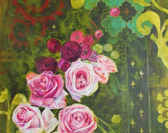 "Archival Print of Original Mixed Media ""Roses on Moss"""