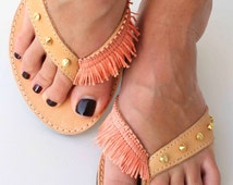 Coral flip flops-Leather sandals with studs and coral ribbon-Greek leather sandal-Gold and coral Sandals-Summer Shoes
