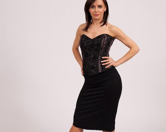 "Classic Tango Skirt Fish Tail- "" black & black"""