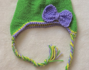 Green Beanie for Girls. Lime Green Beanies for Toddler Girls. Green Beanies for Girls. Green, Yellow and Purple Beanies for girls.