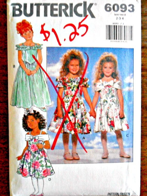 Girl's Children's Ruffle Flower Girl Dress Wedding Bridal Sewing Pattern Butterick 6093 Size 2 3 4