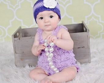 Baby Hat Newborn Baby Girl Hat Purple Baby Hat Grape Lavender Baby Hat Baby Girl Clothes Flapper Beanie Crochet Flower Hat Photo Prop Spring