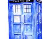 "RESERVED for TRACY*** 17 x 22"" Doctor Who Print: Watercolor Painting of the TARDIS"