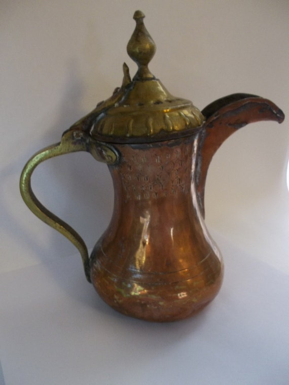 Antique Middle Eastern Copper Teapot By Maisonettedemadness