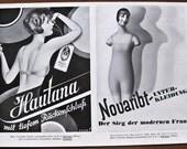 Hautana, Novaribt, 1929, vintage, ads, original, underwear, German, set of 2, advertisement, free worldwide shipping, paper, ephemera