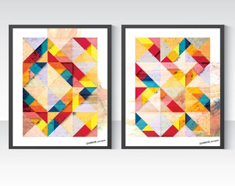 Tangram Geometric Art Duo Poster, Two Abstract Posters A1, Double Wall Art. Mid Century Modern, Scandinavian design inspired