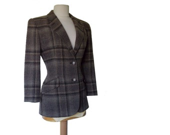 80's Plaid Wool Jacket Ralph Lauren