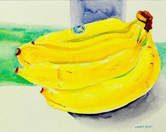 """Still life watercolor original kitchen art, fun watercolor painting bright yellows 9"""" x 12"""" Banana Bunch"""
