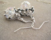RESERVED for Anne - The White Queen - Czech Glass Beads & Crown Charm Earrings