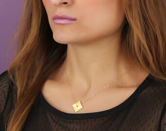 "Gold Square Necklace, Diamond Shaped Necklace, Geometric Jewelry, Square necklace, Minimalist necklace, 14k gold filled necklace, ""Peneus"""