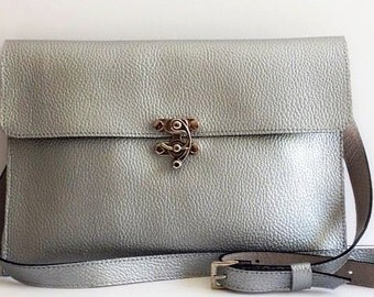 leather clutch, ,tote bag, women bag,silver leather clutch