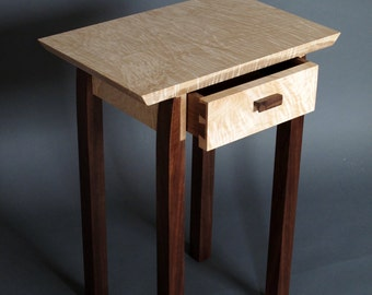 Bed Side Table with Drawer, Small Side/ End Tables, Midcentury Modern Furniture- Handmade Custom Wood Furniture