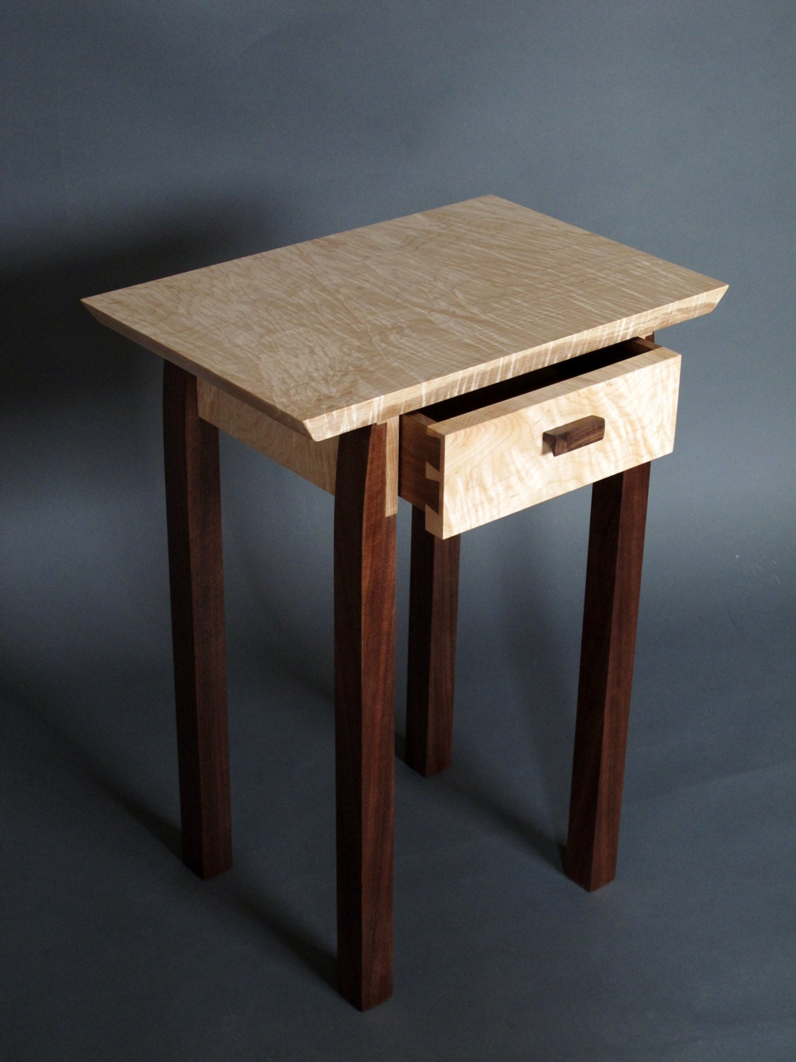 Bed side table with drawer narrow wooden contemporary