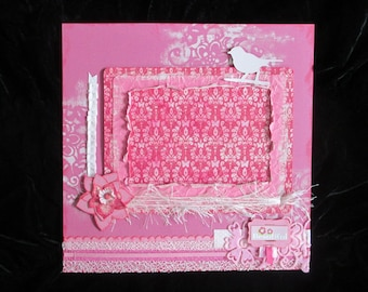 "Breast Cancer Awareness, Pre-Made Pink Shabby Chic Scrapbook Layout, One-of-a-Kind Art, OOAK Valentine Memory Page, ""Beautiful"""
