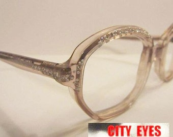 1970s (Italy) Rhinestones Oval optical frames for Eyeglasses or Sunglasses NEW OLD STOCK