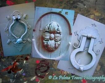 Fine Art Prints, GREY DOOR knocker photos, Rustic old italian doors, set of 3 photo prints