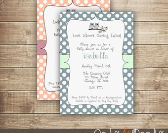 Twins or Triplets Baby Shower Owl Invitation / Owl Polka Dots Baby Shower / Peach, Pink, Lavender, Blue - Printed or Printable