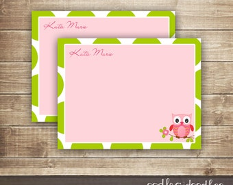 Printable Owl Note Card, Thank You Note, Owl Birthday, Owl Stationery, Owl Stationary, Printable Note Card, Personalized, Pink, Green
