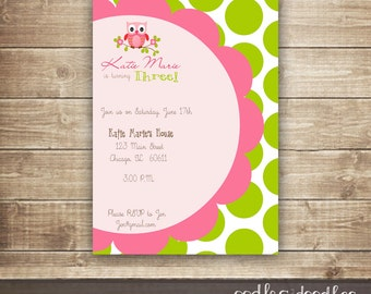 Owl Birthday Invitation, Pink and Lime Green Party, Polka Dots, Girl's Owl Birthday Party, Pink and Green, Printable File or Printed