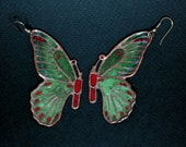 Butterfly earrings, Green moth, Bug charm, Insect jewelry, Bronze jewelry, Glass enamel, Entomology, Lepidopterology, Zoology, Red zirconia