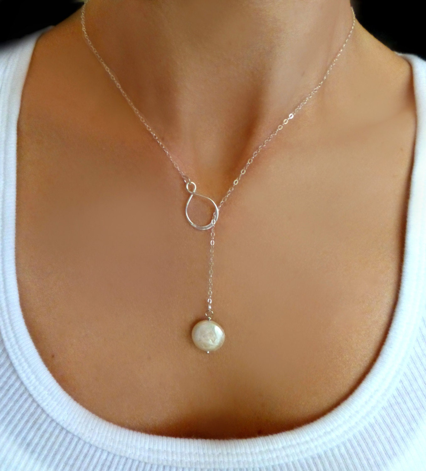 Pearl Lariat Necklace Freshwater Pearl By Glasspalacearts