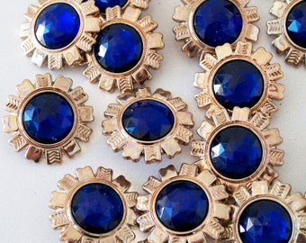 VINTAGE 1990s GLAM Blue Diamonte and Gold Flower Power Buttons-20 Large 30 Small - fabulous for a fine finish or perfect for earrings