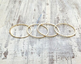 2 Dainty Gold rings, gold ring, Stacking rings, stackable gold rings, thin ring, tiny ring, gold stacking rings, simple gold ring