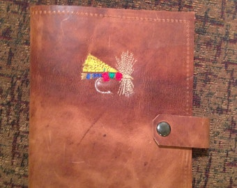Two-Toned Leather Refillable Journal, embroidered Fly on front