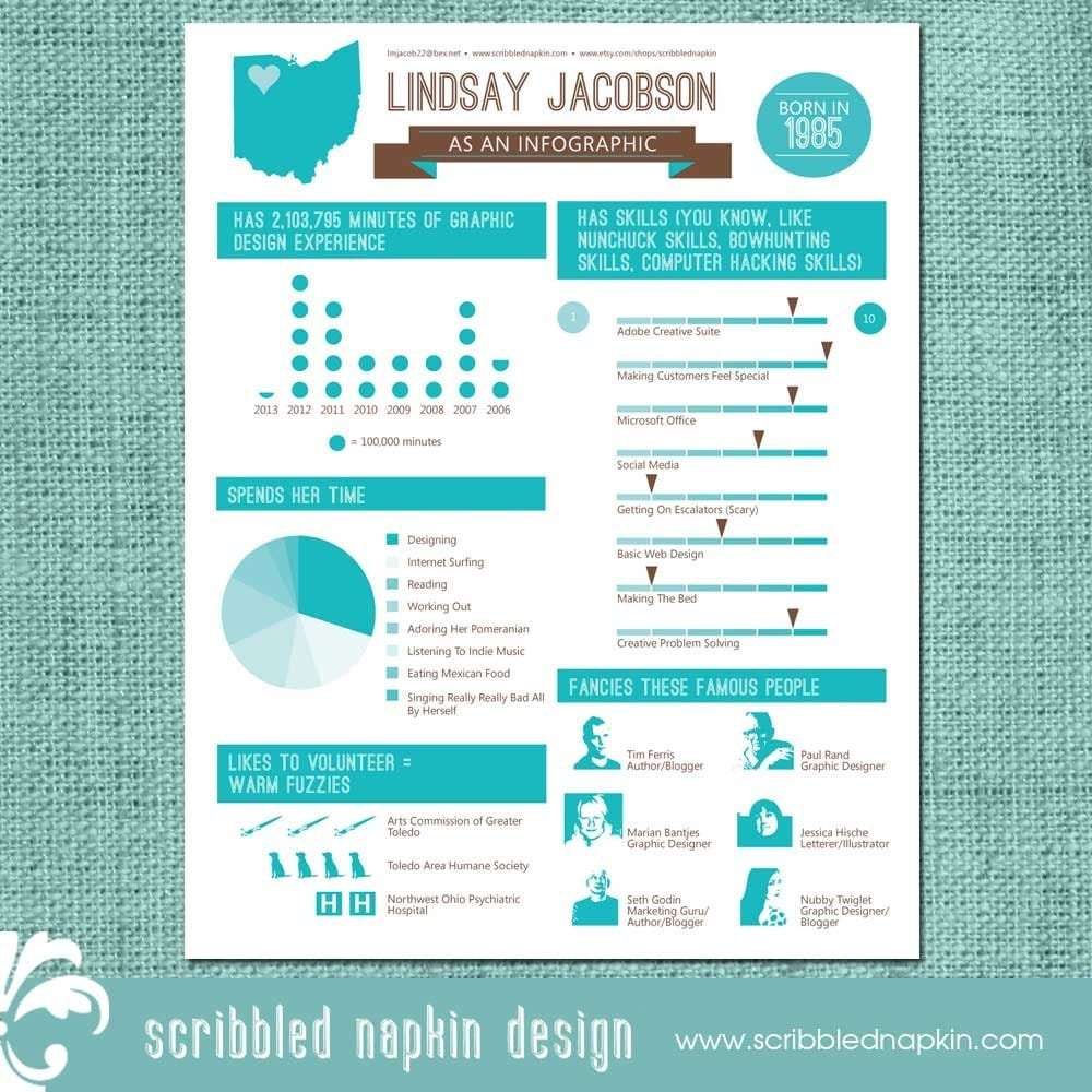 Personalized Infographic Resume Design Custom by ScribbledNapkin