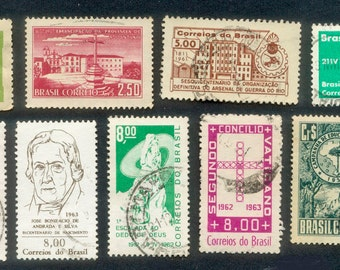 Postage Stamps - Brasil - 1950's and 1960's - Collage, Mixed Media, Artist Trading Cards