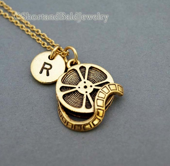 Film Reel Necklace, Movie reel, antique gold, initial necklace, initial hand stamped, personalized, monogram