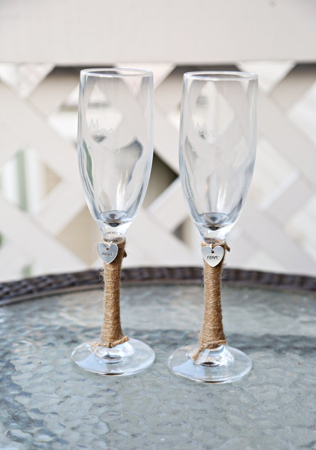 2 personalized wedding glass toasting flutes by