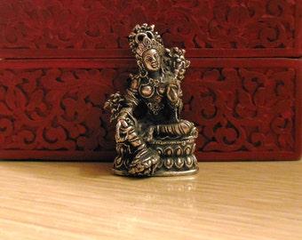 TARA STATUE female Bodhisattva Tiny brass Deity, tiny brass Hindu Deity Parvati / Brass Goddess Statue, Buddhist Portable altar Tara Figure