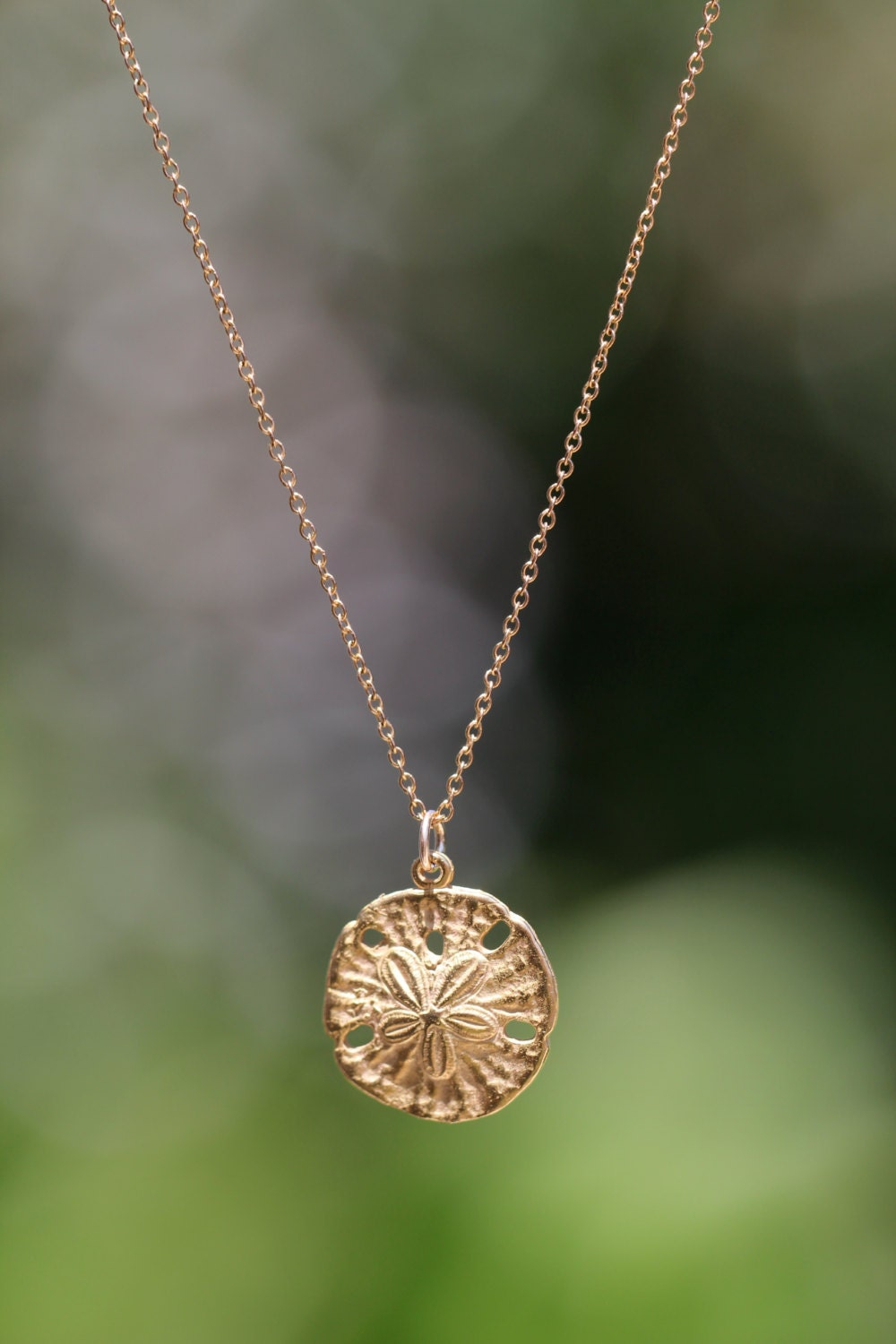 Gold Sand Dollar Necklace Delicate Necklace A Dainty Gold