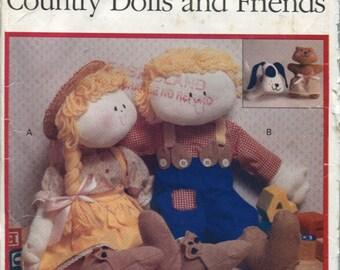 Butterick 134,  Stuffed 21 Inch Doll, 6.5 Inch Bear, and a 6.5 Inch Stuffed Dog, Sewing Pattern