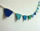 Baby Boy Garland bunting mini banner baby shower flags pennants baby dark light blue marine mint green turquoise triangle nursery room