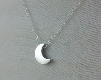 Tiny Silver Crescent Moon Necklace- Little Silver Moon- Sterling Silver Chain