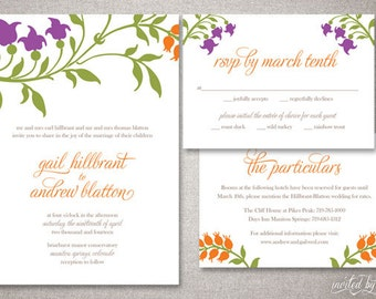 "Modern Rustic Floral ""Gail"" Wedding Invitation Suite - Graphic Woodland Invitations - Personalized DIY Digital Printable or Printed Invite"