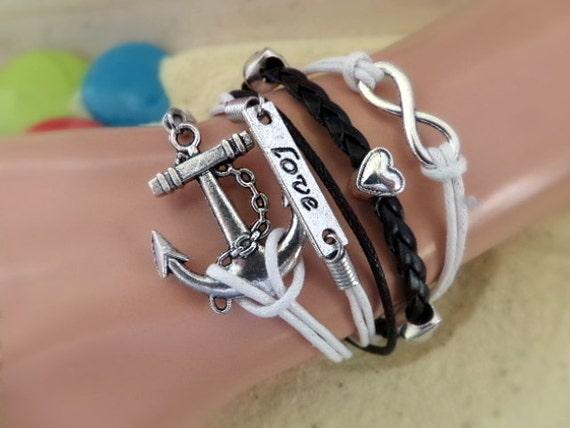 Infinity Anchor Bracelet -- Love Bracelet -- Black White Love Infinity Bracelet, Heart Charm Bracelet, Girlfriend Gift