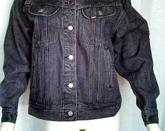 Vintage 80's Lee Black Trucker Jacket
