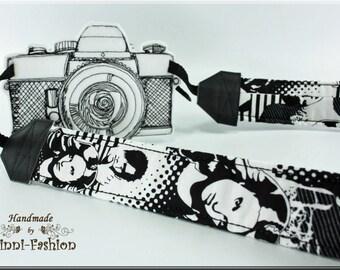 Camera strap, faces, black, white, comic