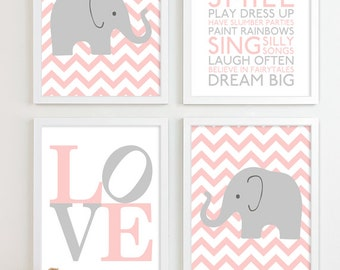 On pinterest nursery art nursery artwork and playroom wall decor - Baby Girl Nursery Art Chevron Elephant Nursery Prints
