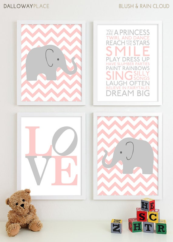 Baby girl nursery art chevron elephant nursery prints kids for Room decor etsy