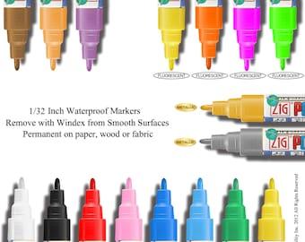 Fine Tip Chalk Paint Marker Zig Posterman Waterproof  PMA-20 1mm 1/32 inch tip 21 Colors