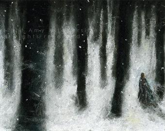 Giclée Fine Art Print, Soft Pastel Illustration, 'The Woods'